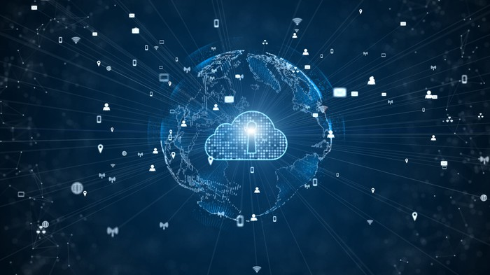 A cloud security icon on top of an illustration of the Earth