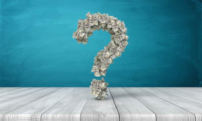 Dollar bills forming a question mark.