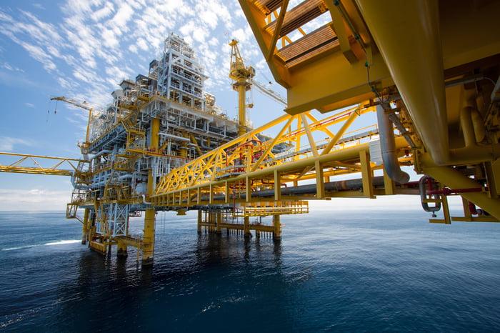 An offshore oil-drilling platform.