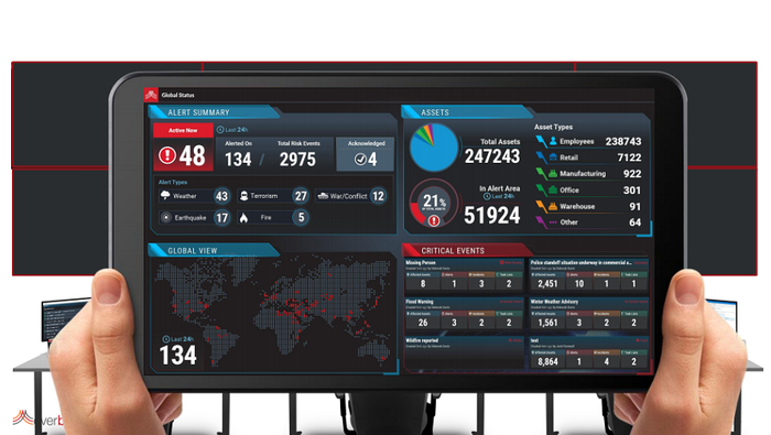 An Everbridge employee's hands holding a screen showing various stats on its critical event management platform.