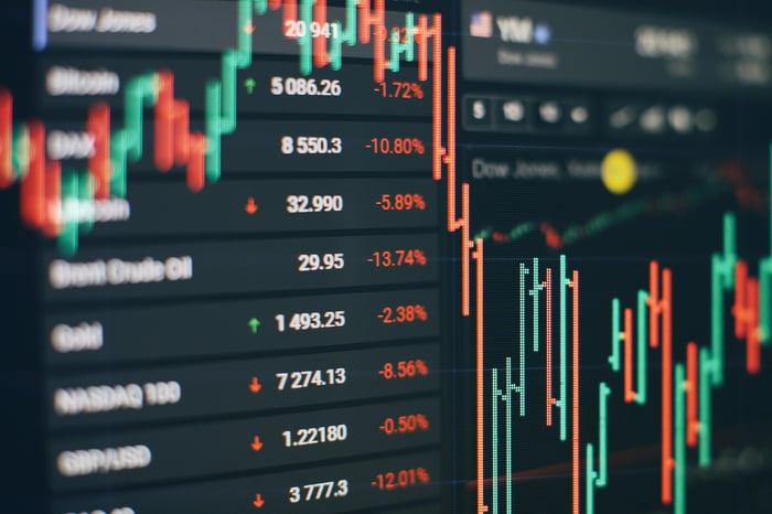 A financial chart shows a steep market selloff.