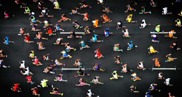 Overhead view of runners