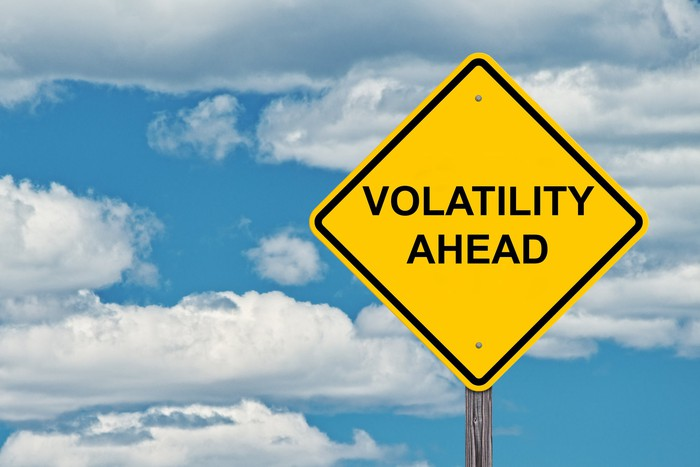 "A yellow road sign that reads ""volatility ahead"""
