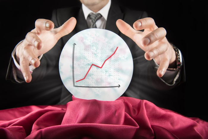 Fortune teller wearing a suit sees a rising graph in a crystal ball.