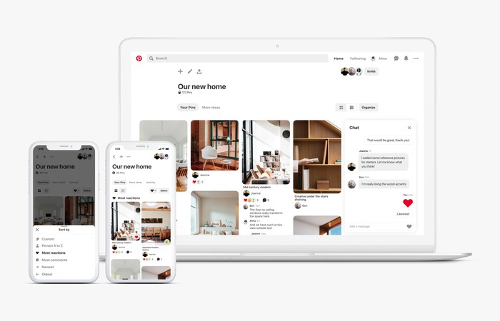 """A view of the Pinterest site's group communication features depicting a board called """"Our New Home"""" with images of furniture next to a group chat window on a laptop, and the ability to sort the images by most reactions on a mobile phone."""