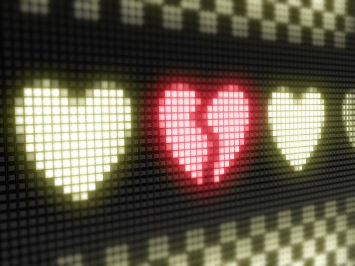 A row of LED hearts.