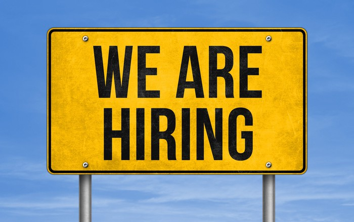 A road sign that says we are hiring