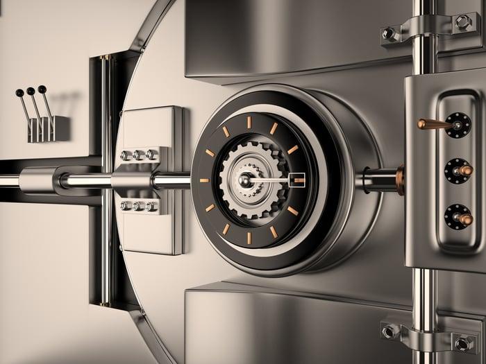 The door of a vault.