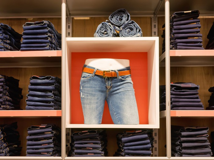 A store display selling bluejeans.