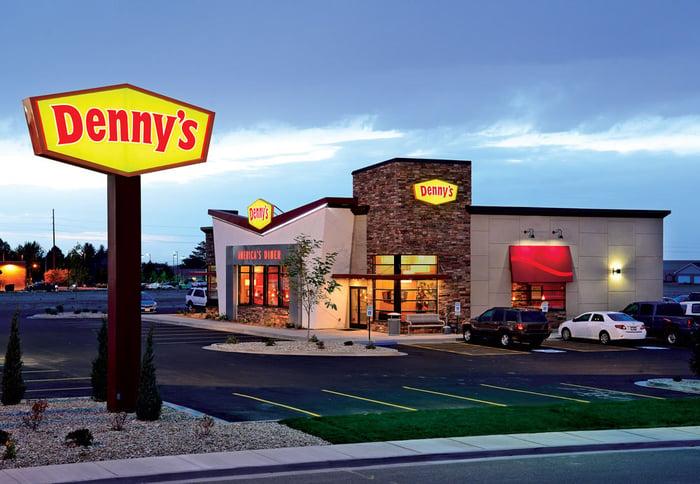 Exterior of a Denny's restaurant.