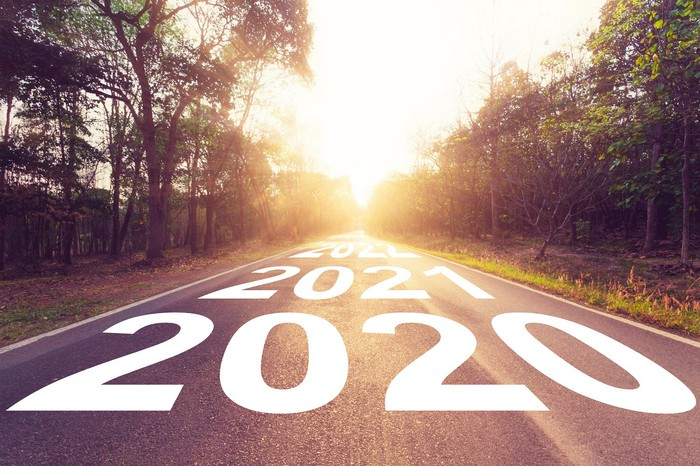 Road with years in the future, starting at 2020, painted on it.