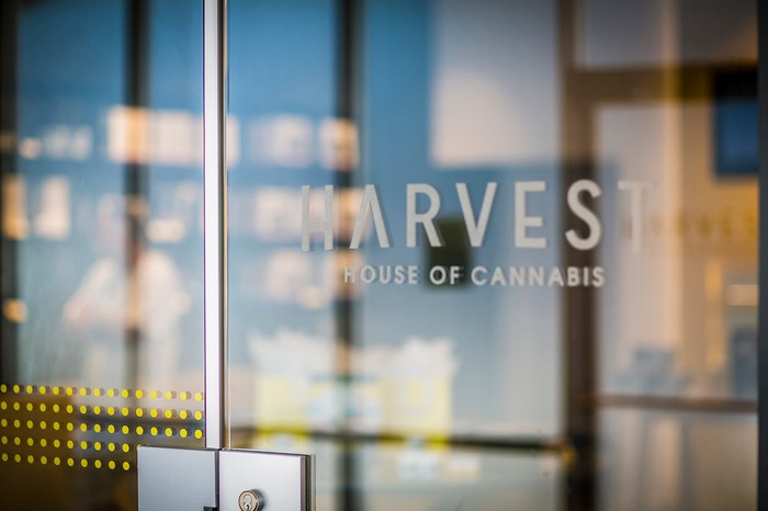 The entrance of a Harvest dispensary.