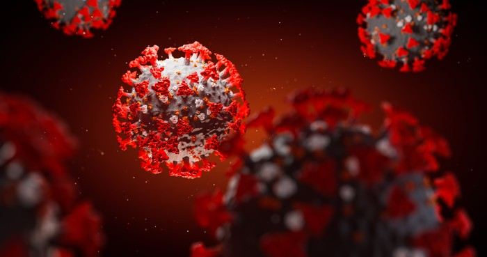 Up close image of a coronavirus.