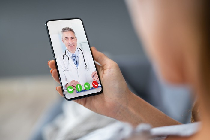 Patient and doctor on a video call.