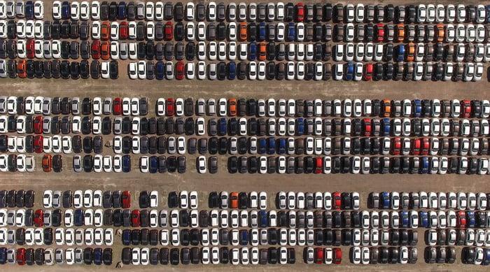 Full car lot, no car shoppers