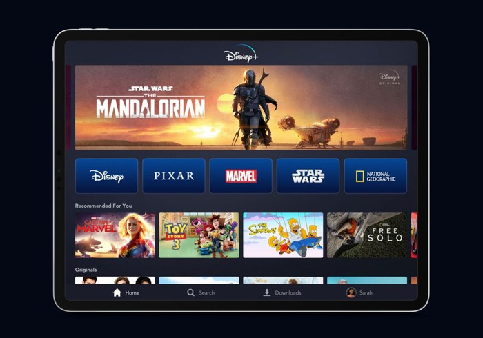 Disney+ interface on a tablet device.