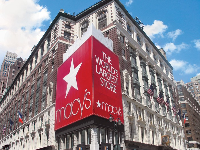 Macy's flagship store at Herald Square in New York City is shown against a blue sky.