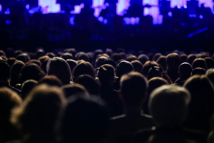 A crowd gathers at a concert.