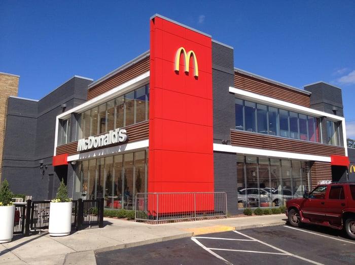 The exterior of McDonald's.