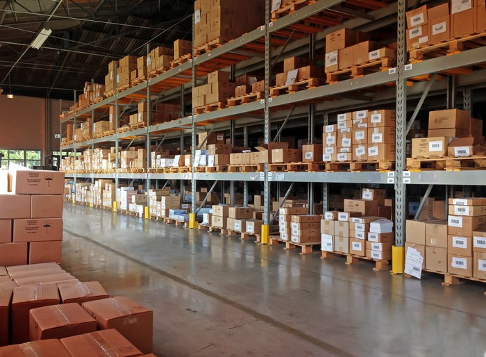A warehouse of supply parts.