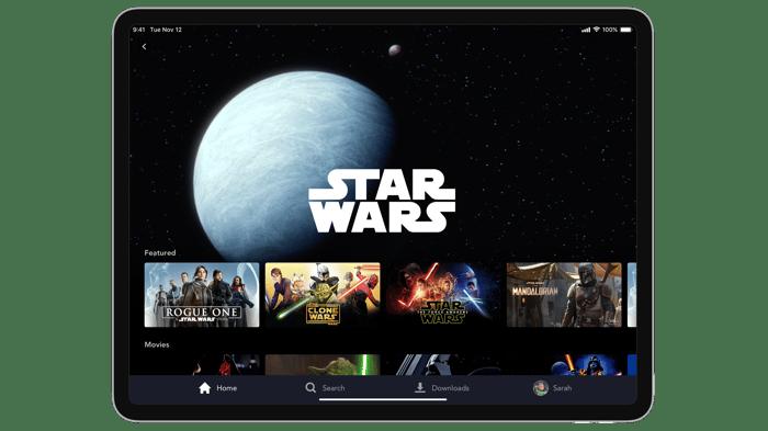 Disney+ interface displayed on an iPad