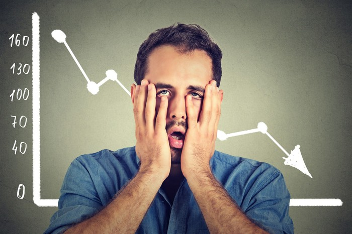 A dismayed-looking man holds his hands to his face in front of a chart whose arrow heads down and to the right.