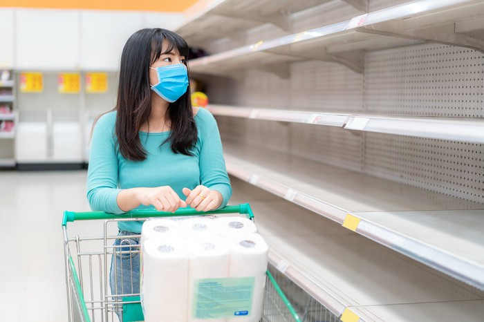 A woman wearing a face mask rolling a shopping cart with toilet paper in it down a store aisle with empty shelves.