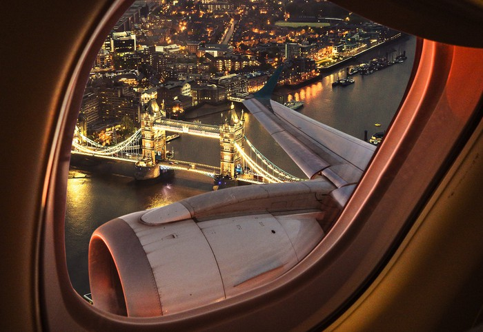 London seen from the window of an airplane.