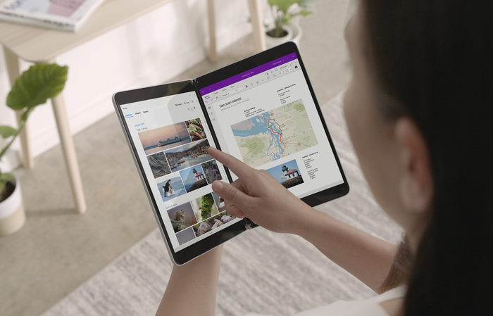 Person using Surface Neo
