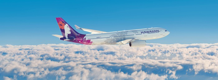 Hawaiian Airlines airplane in flight