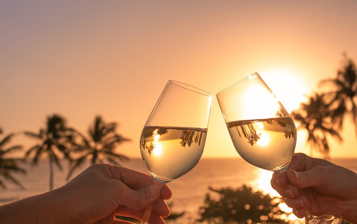 Two wine glasses clink in front of a setting sun.