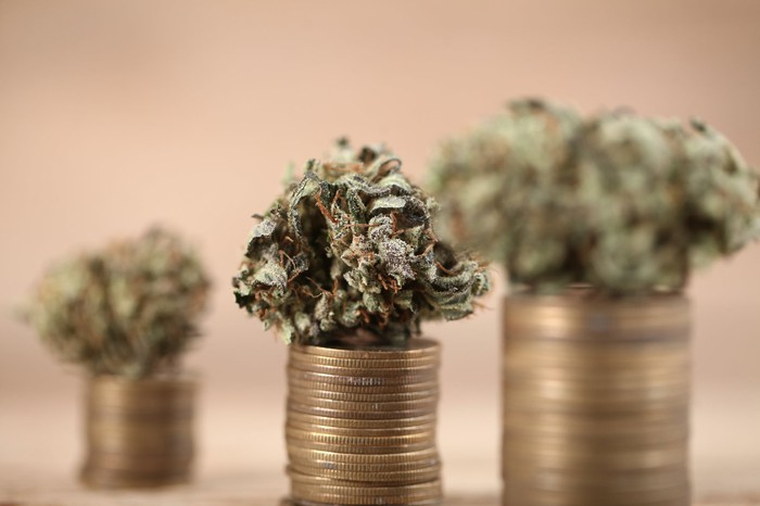 Cannabis flower on stacked coins.