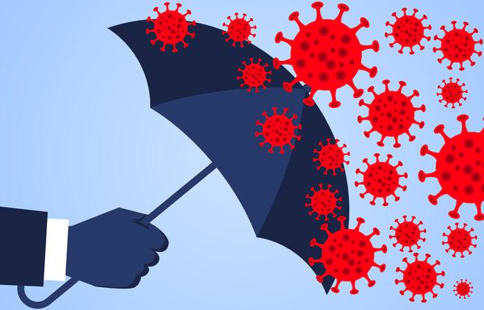 Man holding up umbrella to coronavirus viroids.