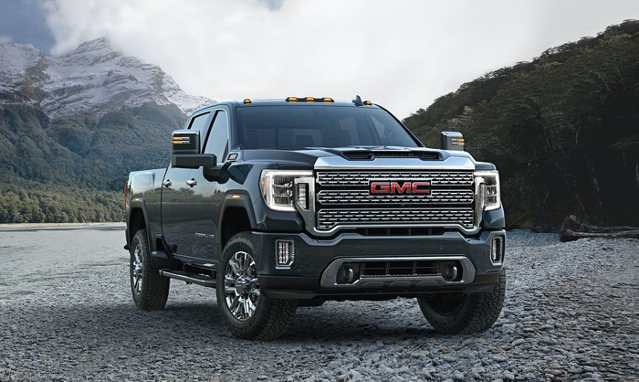 A 2020 GMC Sierra Denali HD, a heavy-duty luxury pickup truck.