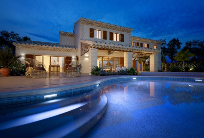 A villa with a swimming pool.