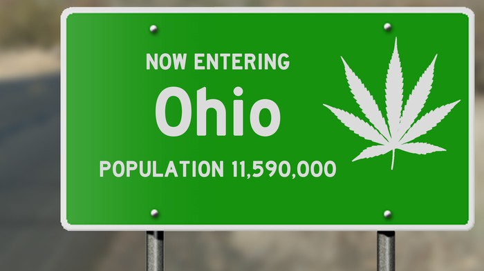 Ohio road sign with marijuana leaf.