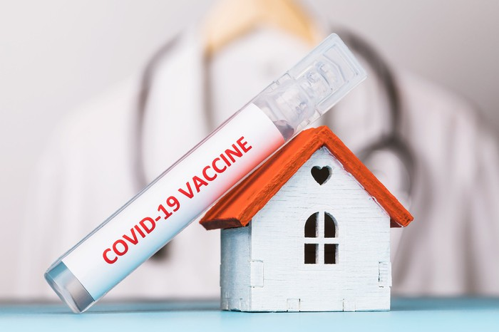 COVID-19 vaccine vial leaning on a tiny toy house with a healthcare professional blurred in the background