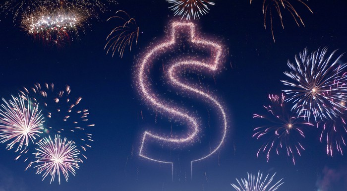 Fireworks with a dollar sign