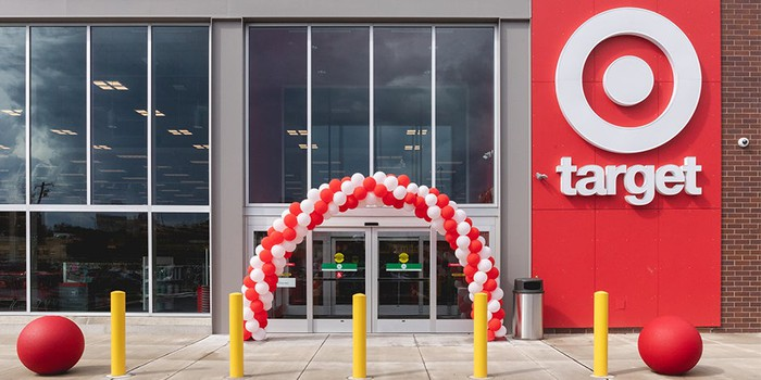 The exterior of a Target store with balloons set up around the door