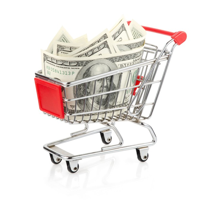 Tiny shopping cart with hundred dollar bills in it