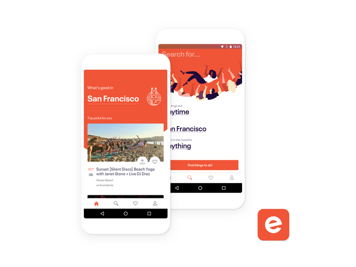 Screenshots of Eventbrite's consumer app for mobile phones showing what an event looks like to ticket buyers and how they find events.