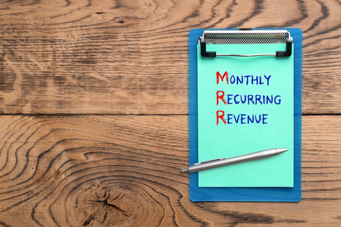 """Clipboard on a wood table with the words """"Monthly Recurring Revenue."""""""