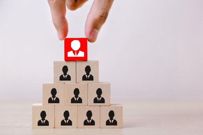 Hand placing red block on pyramid of blocks, each marked with the image of a person in a business suit, to represent a change in corporate hierarchy.