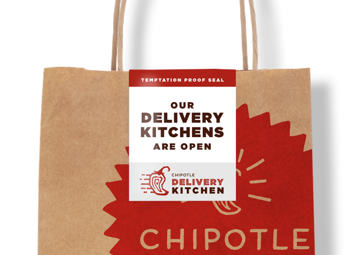Chipotle take-out bag with safety seal.