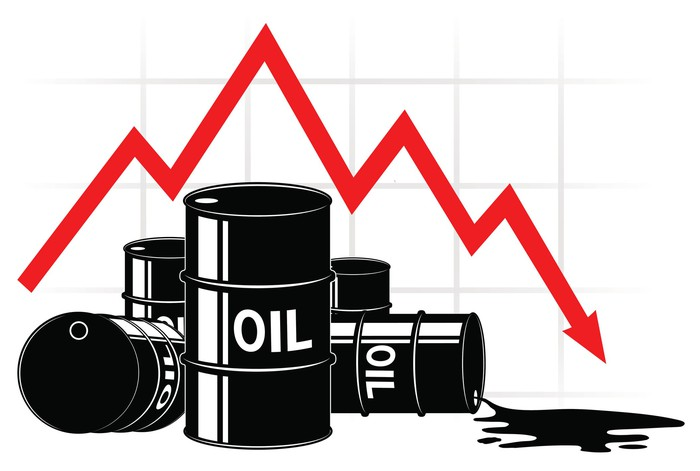 oil drums with red market arrow indicating commodity price drop