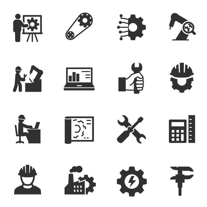 manufacturing icons of tools, gears, workers, testing equipment