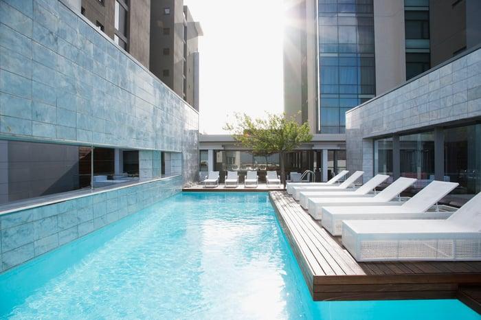 An upscale hotel pool.