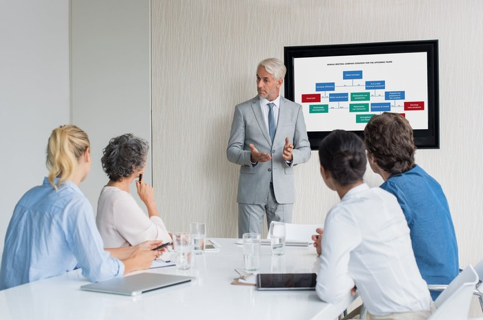 Man speaking at a business meeting.
