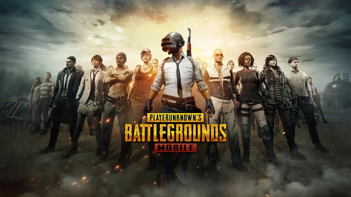 The logo for Player Unknown's Battlegrounds Mobile along with a lineup of characters from the game.