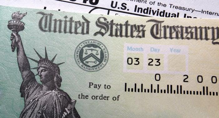 U.S. Treasury check.